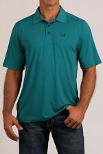 Cinch Men's ArenaFlex Turquoise Striped Polo Shirt MTK1829006
