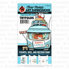 Happy Camper Clear Rubber Stamps & Die Cutting Dies Art Impressions 4969 New