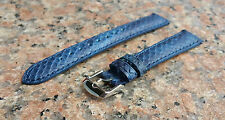 16mm Navy Blue Genuine Leather Python snake Emboss Watch Interchangeable Strap