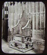 Glass Magic Lantern Slide CORONATION CHAIR & STONE OF DESTINY C1890 PHOTO LONDON