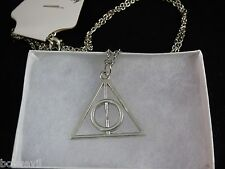 USA -  Harry Potter The Deathly Hallows Silver Charm  Pendant Chain Necklace