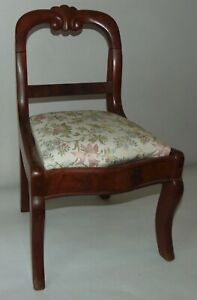 VINTAGE Doll Chair ANTIQUE STYLE Wood UPHOLSTERED SEAT