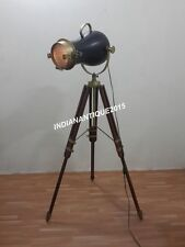 HOLLYWOOD NAUTICAL ANTIQUE BRASS SEARCHLIGHT FLOOR LAMP SPOT LIGHT TRIPOD STAND