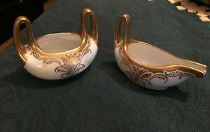 PICKARD D & C, HAND-PAINTED CREAMER PITCHER & SUGAR Gold Trim France Antique