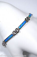 Blue Fire Opal Inlay Solid 925 Sterling Silver Link Tennis Bracelet 7.5'' Long