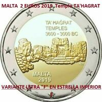 "ERROR WITH MINTMARK ""F"" : MALTA 2 EUROS 2019 TA'HAGRAT Variante ERREUR France SC"