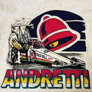 Vtg Taco Bell NHRA Top Fuel JOHN ANDRETTI T-Shirt Mountain Dew Sz Large NOS