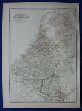 BELGIUM AND THE NETHERLANDS, original antique map, Blackie, 1884