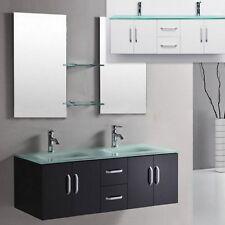 Mobile da Arredo per Bagno 150 cm doppio lavabo con cassetti e ante più specchio