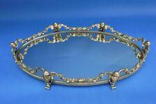 "Vintage Gold Gilt Angel Bust & Floral Garland Vanity Mirror Tray Large 19"""