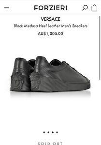 Versace Black Medusa Heel Leather Men's Sneakers