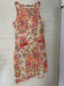 April Cornell Sleeveless Dress 100% cotton Large NWOT floral pattern
