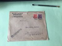 Germany 1923 Allianz Bank Karlsruhe stamps cover  ref 50511