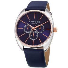 Men's Akribos XXIV AK998BU Chronograph Rose Silver Tone Blue Leather Strap Watch
