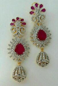 Cubic Zirconia Designer Elegant Ruby Designer Earrings 26 RE 36
