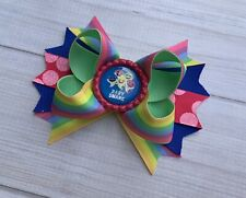 Handmade Baby Shark Stacked Boutique Hair Bow