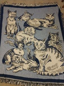 Cat fringed Blue Tapestry Afghan Throw Blanket Wall Hanging 57 x 48