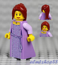 LEGO - Female Minifigure Lavender Dress & Dark Red Ponytail Hair Princess Castle