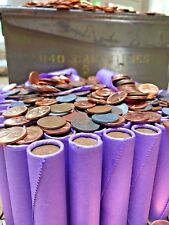 ULTRA RARE VINTAGE PURPLE WHEAT PENNY ROLL OLD US COINS 1909-1958 BU WHEATS PDS!