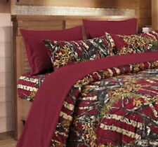 BURGUNDY CAMO SHEET FULL SIZE WOODS CAMO BEDDING 6 SET CAMOUFLAGE FLAT FITTED