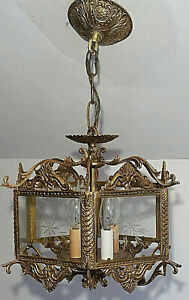 Very Ornate Vintage Solid Brass and Etched Glass Ceiling Light Fixture, working