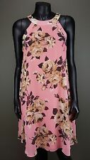CUTE BETSEY JOHNSON PINK GRAY FLORAL PRINT SLEEVELESS CHIFFON LINED DRESS Sz 8