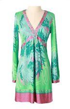 Hale Bob Beaded Green Floral Print Shift Dress | Long Sleeve XS NWT 4BOF6384 *