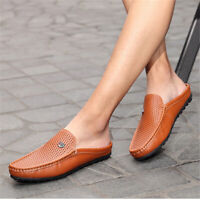 Men's Slip On Hollow Mule Shoes Casual Loafer Driving Moccasins Leather