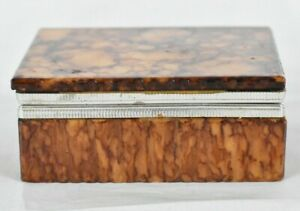 Antique Faux Tortoise Shell Box with Silverplate Inlay