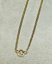 "NEW 14kt Yellow Gold Custom Bezel Set Diamond Anchor Chain 18"" Necklace 1/4 Ct."