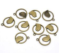 5x Vogel rund Anhänger Charm Bronze 21x24mm für Halskette Schmuck Zinklegierung