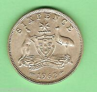 1962  AUSTRALIAN  SILVER  SIXPENCE COIN