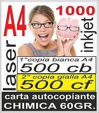 CARTA CHIMICA 1000 A4 RICEVUTE - 500x2 copie - stampante laser e inkjet