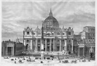 ST. PETER'S ROME 1866 ANTIQUE ENGRAVING ST. PETER ARCHITECTURE