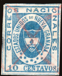 COLOMBIA 1861 Coat of Arms 10c blue Scott #16 used VF