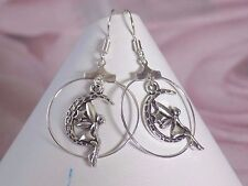 Tibetan Silver & Silver Plated Fairy Moon Star Hoops Hook Dangling Earrings