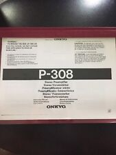 Onkyo Integra Stereo Preamplifier P-308 Owners Manual ~RARE~ LOOK !