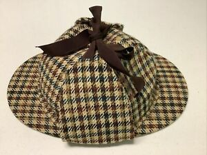 VTG SHERLOCK HOLMES DEERSTALKER HAT 7 1/2, DUNN CO. BRITAIN, NEVER WORN