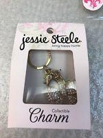 Jessie Steele Charm White Bow Bag Purse Charm 18K Gold Plated Sealed