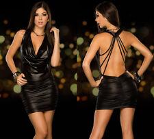 Completo Abito Vestito Aderente Simil Latex PVC Mistress Sexy Clubwear Lucido