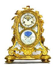 French Style 8 Day Visible Escapement Gilt Bronze Enamel Calendar Mantle Clock