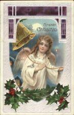 Christmas - Beautiful Angel Child Ringing Bell c1910 Postcard
