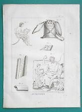 WRITING INSTRUMENTS Greek Roman Pen Inkwell Tablets - 1804 Copperplate Print