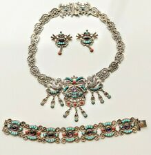 Vintage Mexican Sterling Deco Amethyst Jeweled Necklace, Bracelet & Earrings 92g