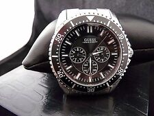 GUESS Men's Chronograph U12618G1 Waterpro Steel Band Black Dial Watch W/ Box