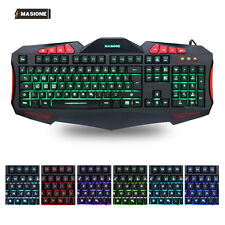 Gaming Tastatur beleuchtet 7 LED Tastatur USB Gamer Gaming Keyboard PC Deutsch