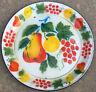 """Vintage Enamel Ware Enamelware Round Tray 14"""" Diam Fruit Pear Berries Apples"""