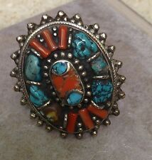 Ring Coral Silver Oval Turquoise Chip Tibetan Ring Size 11