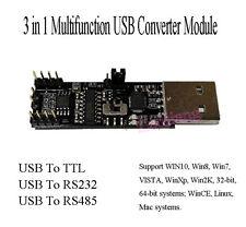 3 in1 5V 3.3V Serial Converter Board USB To RS485 RS232 TTL Serial Module CP2102