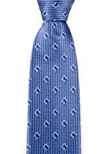 "New BRIONI Italy Geometric Rhombus Blue 3.25"" 100% Silk Handmade Neck Tie NWT"